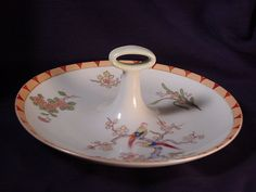 Vintage Hand Painted Nippon Center Handle Nappy 8 inch Diameter Birds & Flowers  #nippon