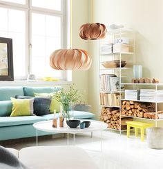 pastel living room with light turquoise Söderhamn sofa and lovely light Living Room Interior, Home Living Room, Living Spaces, Living Room Inspiration, Home Decor Inspiration, Rosa Sofa, Söderhamn Sofa, Couch Pillows, Ikea Couch