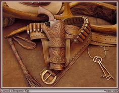 Cheyenne gun rig from Wild Rose Trading Co. Pistol Holster, Leather Holster, Revolver, Leather Tooling, Western Holsters, Cowboy Action Shooting, Cowboy Gear, Leather Projects, Guns And Ammo
