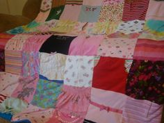Child's Clothing Memory Blanket - t shirts, onesies, PJ's, clothing, ribbons, blankets - this is such a wonderful idea, there are a few little things I may have a hard time parting with and this will repurpose them!