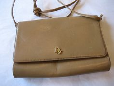Christian Dior Vintage Tan Leather Envelope Clutch by CLASSYBAG