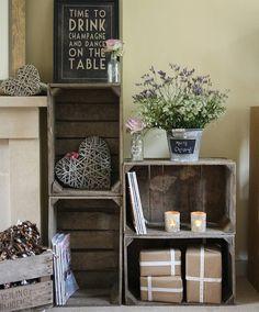 Caisses de bois pour jolies étagères #flowers #heart #deco