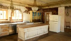 Kitchen in one building on Robin Brown's Texas Ranch- which is for sale (photo Anne Lorys)