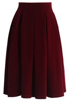 Velvet Dream Pleated Midi Skirt in Wine - Valetines - Trend and Style - Retro, Indie and Unique Fashion Velvet Midi Skirt, Red Pleated Skirt, Red Skirts, Dress Skirt, Unique Fashion, Fashion Fall, Calf Length Skirts, Mode Hijab, My Style