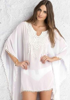 ForeFront Women's Crochet Lace Neck Pompom Trim Sheer Chiffon Caftan - deal for friends Moda Kimono, Lace Kimono, Dress Lace, Kimono Style, Kimono Blouse, Chiffon Kimono, Chiffon Cover Up, Sheer Chiffon, White Chiffon