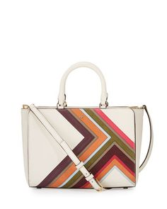 Robinson+Multi-Stripe+Small+Zip+Tote+Bag,+New+Ivory+by+Tory+Burch+at+Neiman+Marcus.