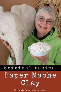 This easy recipe creates spreadable paper mache clay that replaces the mess of t. - This easy recipe creates spreadable paper mache clay that replaces the mess of traditional paper st - Paper Mache Paste, Paper Mache Clay, Paper Mache Sculpture, Paper Mache Flowers, Paper Sculptures, Homemade Clay, Diy Clay, Recipe Paper, Clay Recipe