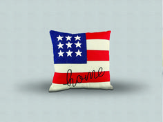 Denim pillow American Flag and Home