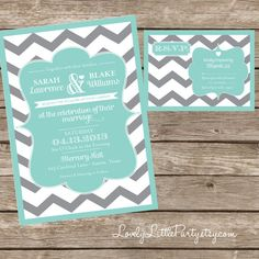 Chevron Wedding Invitation and RSVP design - DIY Printable - Lovely Little Party - You Choose Color