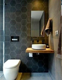 A small bathroom is not easy to design. Looking for some fresh ideas to design your small bathroom? Well, let's take a look at these small bathroom ideas! Bathroom Floor Tiles, Wood Bathroom, Bathroom Storage, Bathroom Small, Gray Bathrooms, Room Tiles, Bathroom Mirrors, Master Bathrooms, Tropical Bathroom
