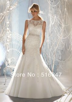 2014 New Long Appliques White/ivory Organza Beading A-Line Spaghetti Strap Bridal Gown Wedding Dresses Custom Size Free Shipping US $169.00