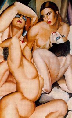 Tamara de Lempicka, 'Grupo de cuatro desnudos', 1925-30. Óleo / femenino, mujer