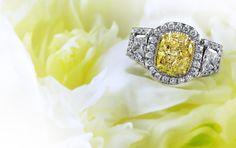 #fancy #yellow #cushion diamond #ring #engagement