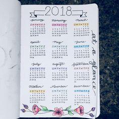 bullet journal set up, 2018 at a glance, floral, pastel, bullet journal banner, bullet journal calendar
