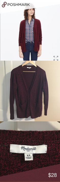 Madewell landscape cardigan in maroon Super cozy cardigan with pockets and open side slits. Cotton/viscose/nylon. Barely worn and in great condition. Madewell Sweaters Cardigans