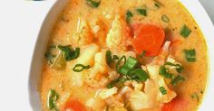 Easy Thai Red Curry Coconut Cauliflower Soup, vegan soup, healthy, Southeast Asian soup recipe