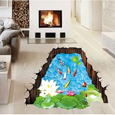Amaonm Removable Creative 3D Fish Swim in The Hawthorn  Lotus Flowers leaf False Window Wall Decals Wall Stickers Murals for Bathroom Kids room Bedroom Front floor Living room Decorations * Click image to review more details. (Note:Amazon affiliate link)
