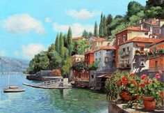 Lake Como Painting - Impressioni Del Lago by Guido Borelli City Painting, Oil Painting Abstract, Cool Landscapes, Landscape Paintings, Cleaning Oil Paintings, Abstract City, Italy Art, Great Paintings, Art Challenge