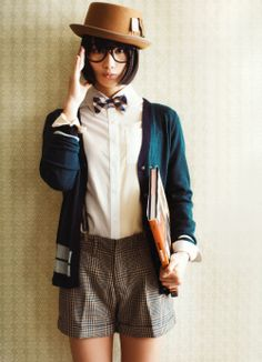 THIS OUTFIT. HNNGGG. Pattern short, suspenders, button down, cardi, hat. <3