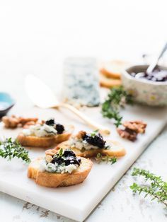 Crostini with Gorgonzola and Prune Chutney
