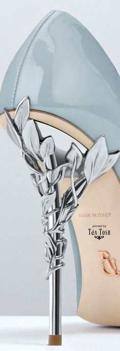 ❇Téa Tosh❇ Ralph & Russo, The Eden Heel, Sky Blue Patent with Silver Leaves