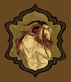 Baphomet Art Print by Abigail Larson Abigail Larson, Hidden Face, Baphomet, Art Google, Beauty And The Beast, Mythology, Cool Art, Lion Sculpture, Fan Art
