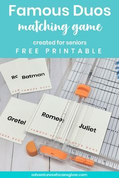 Famous Duos Free Printable – Alzheimer's and Dementia Activity – Kaitlin Snow – art therapy activities Memory Games For Seniors, Games For Elderly, Elderly Activities, Senior Activities, Crafts For Seniors, Elderly Care, Senior Crafts, Senior Games, Activities For Dementia Patients