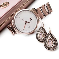 Women's Accessories - White and Rose Gold MVMT Women's Watch with Tory Burch Clutch & Loavies Earnings