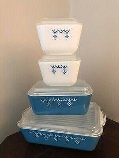 Vtg Pxrex Refrigerator Square Dish Set Blue Snowflake Garland Pattern Lot w/ Lid  | eBay