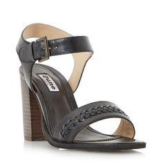 Dune Ida weave detail block heel sandals, Black
