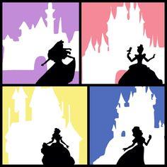 Princess Silhouettes - Nursery or Girl's room - Wall art - Digital Art - 5x7 -  Option to personalize. $14.99, via Etsy. #princess #disney #belle #aurora #sleepingbeauty #beautyandthebest #snowwhite #cinderella #castle #nursery #babyroom