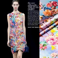 Eco-friendly Sweet Small Floral Digital Printing Stretch Silk Satin Fabric for Tailor Sewing Dress 1Meter 19Mommie