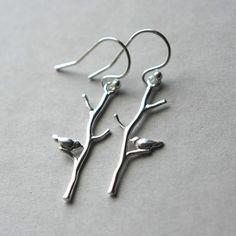 Sterling Branch Earrings Silver Bird Earrings by juliegarland