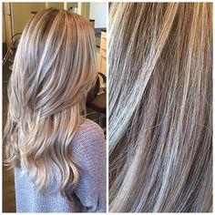 Bright blonde ribbons and wheaty lows. Mix of foils and balayage