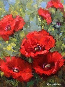 Cascade Red Poppies ~ Nancy Medina Art ~ 11X14 oil on gallery wrap canvas www.nancymedina.com