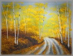 Autumn Road, Glass Frit Painting by Diane Quarles