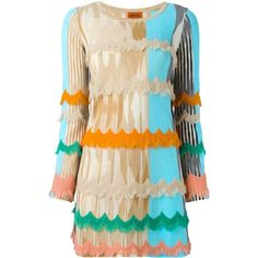 Missoni scalloped fringe knitted dress featuring polyvore women's fashion clothing dresses multicolor missoni multi-color dress missoni dress colorful dresses scalloped hem dress