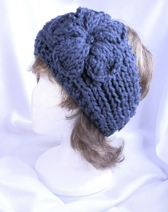 Navy Blue Hand Knit Ladies Headband with Flower