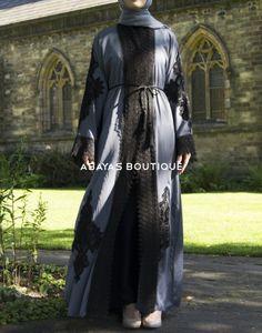 Iris Grey Lace Embroidery Open Abaya