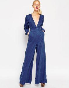 Jumpsuit byxdress Asos i jeans / denim med vida ben. 70-tal