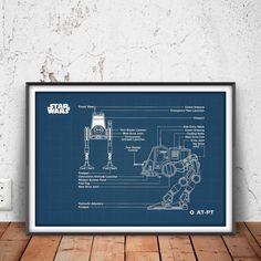 AT-PT WALKER blueprint star wars poster star wars by PrintPoint