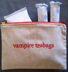 """Indiscreet """"vampire teabags"""" Zip Pouch for Tampons, Menstrual Pads, Feminine Products. funny but Disgusting. Funny Ads, Freaking Hilarious, Funny Stuff, Funny Memes, That's Hilarious, Ft Tumblr, Menstrual Pads, Just In Case, Hilarious Stuff"""