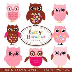 Pink and Brown Owls for cards crafts design by LillyBimble on Etsy, $5.00