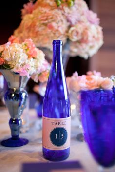 Cobalt blue glassware ~ table numbers ~ very pretty! On http://StyleMePretty.com/2012/04/16/charles-krug-winery-wedding-from-jennifer-skog-amazae-special-events/ Photography by jenniferskog.com, Event Design by amazaespecialevents.com