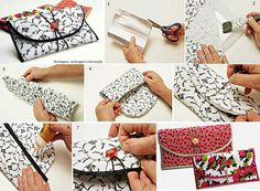 Be Creative And Make Your Own Wallet - Find Fun Art Projects to Do at Home and Arts and Crafts Ideas Diy And Crafts Sewing, Easy Diy Crafts, Arts And Crafts, Recycled Crafts, Diy Fashion Projects, Cool Art Projects, Make Up Storage, Diy Storage, Green Craft