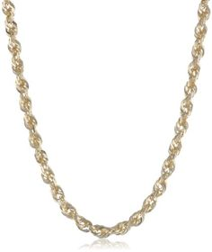 Duragold 14k Yellow Gold Solid Diamond-Cut Rope Chain Necklace (2.5mm ), 18″ | Your #1 Source for Jewelry and Accessories