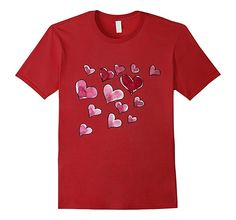 Hearts shirt watercolor art love heart t-shirt for Valentine - Male 3XL - Cranberry