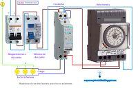 Esquemas eléctricos: Maniobra de un reloj horario para focos exteriores...