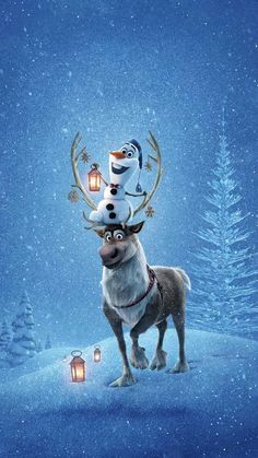 iPhone and Android Wallpapers: Olaf and Sven Frozen Wallpaper for iPhone and And Xmas Wallpaper, Christmas Phone Wallpaper, Frozen Wallpaper, Disney Phone Wallpaper, Winter Wallpaper, Wallpaper Backgrounds, Wallpaper Samsung, Disney Olaf, Disney Art