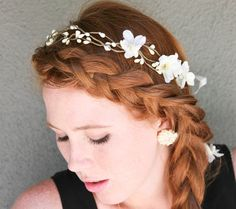 wedding hair, Rustic bridal wreath with ribbon ties, headbands for weddings, woodland tiara.